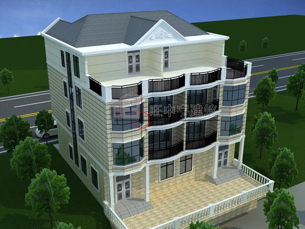 四层联体新农村别墅设计,新农村别墅自建房设计鸟瞰图