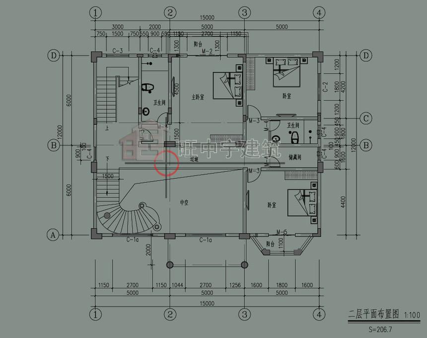 欧式农村别墅自建房二层平面图
