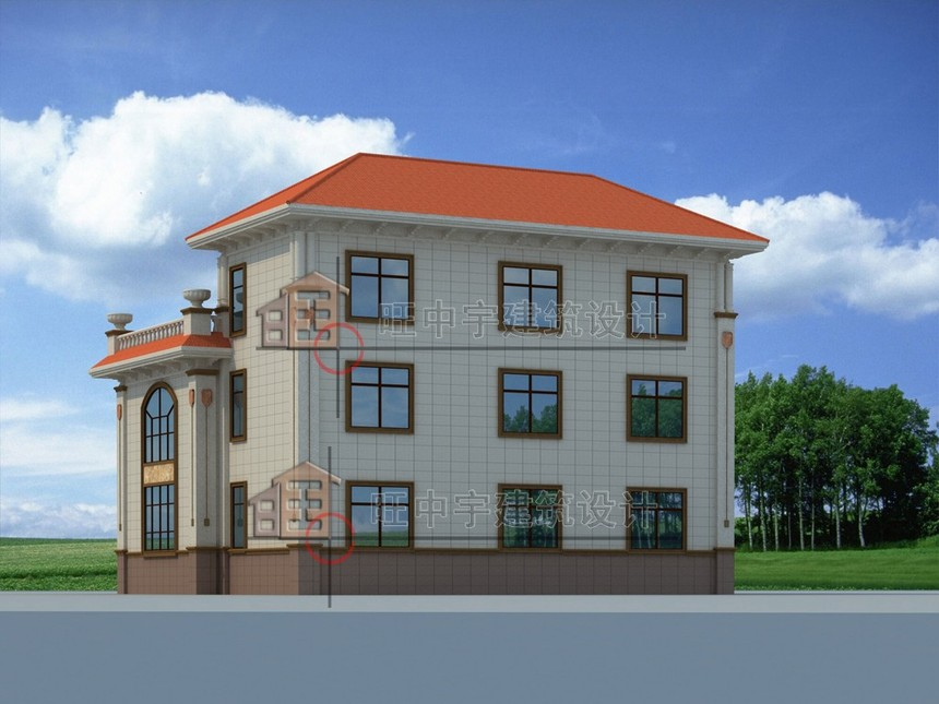 农村别墅款式三层设计图纸后面效果图