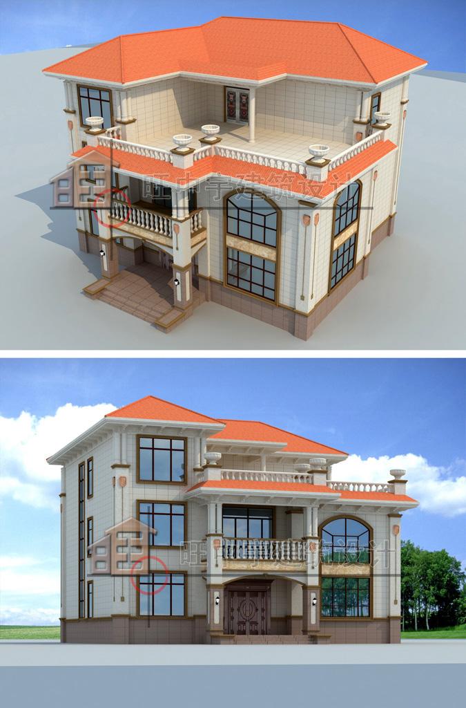 农村别墅款式三层设计图纸鸟瞰图侧面效果图
