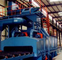 Q6918鋁膜板通過式拋丸清理機