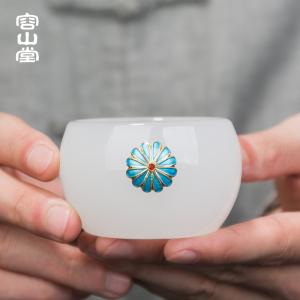 容山堂景泰蓝玉瓷茶杯白玉大号品茗杯主人杯