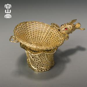 容山堂茗宏 纯铜茶漏茶托架 镀金茶滤泡茶
