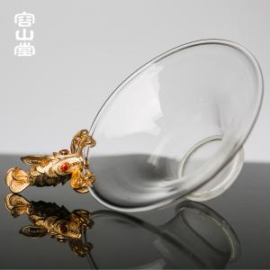 容山堂茗宏 纯铜镀金玻璃茶漏 泡茶过滤器