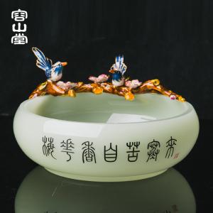 容山堂曼久 珐琅彩玉瓷茶洗 大号白瓷建水
