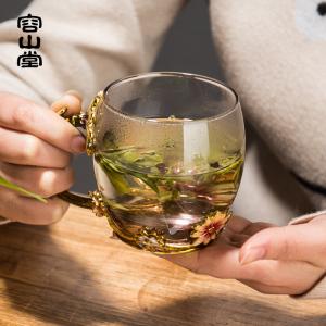 容山堂曼久 珐琅彩玻璃茶杯 耐热品茗杯主