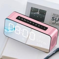 藍牙音箱手機電腦插卡無線鬧鐘小鋼炮迷你桌面小音響玫瑰金