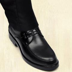 男士皮鞋真皮商務休閑鞋子男士圓頭軟底系帶增高牛皮鞋正裝男皮鞋