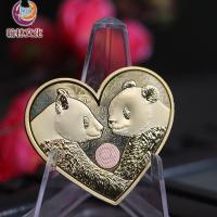 熊猫镀铜金双金属心形纪念章