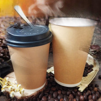 牛皮纸杯一次性咖啡杯带盖商用奶茶杯外带打包杯子定制热饮杯logo定制