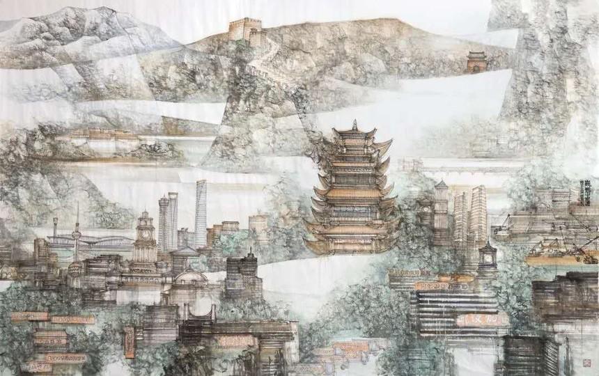 中国画《巍巍中国情》.jpg