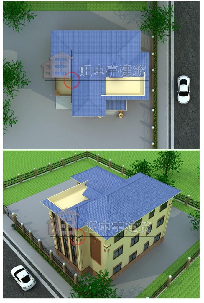豪华大气型三层小别墅鸟瞰图