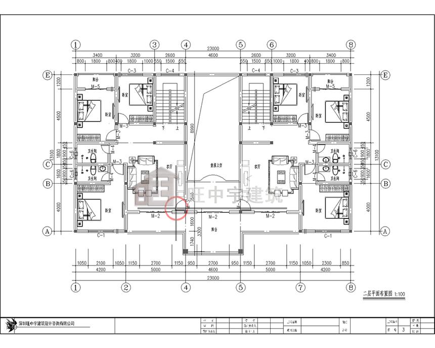 农村别墅双拼自建房二层平面图