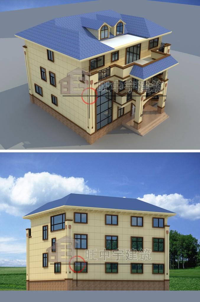 农村别墅自建房设计鸟瞰图