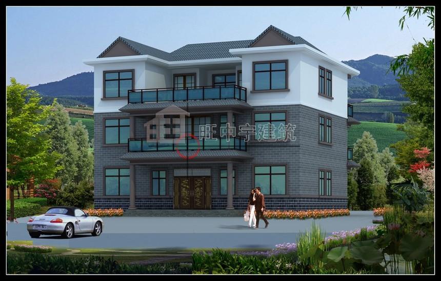 中式联体三层农村别墅设计图