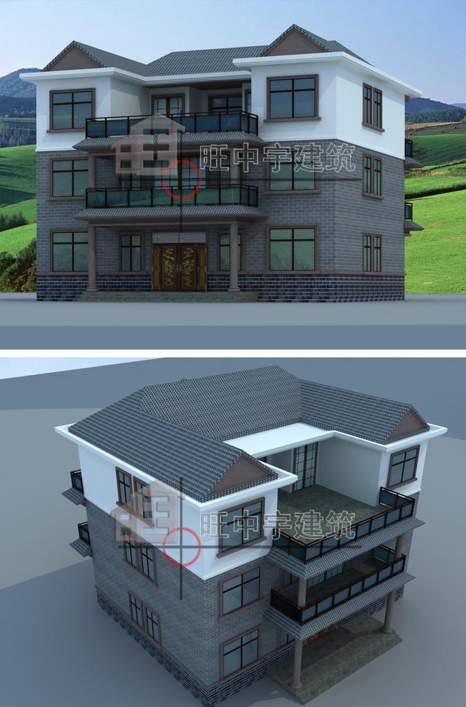 中式联体三层农村别墅设计鸟瞰图