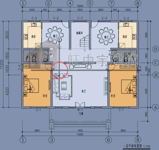 中式联体三层农村别墅设计一层平面图