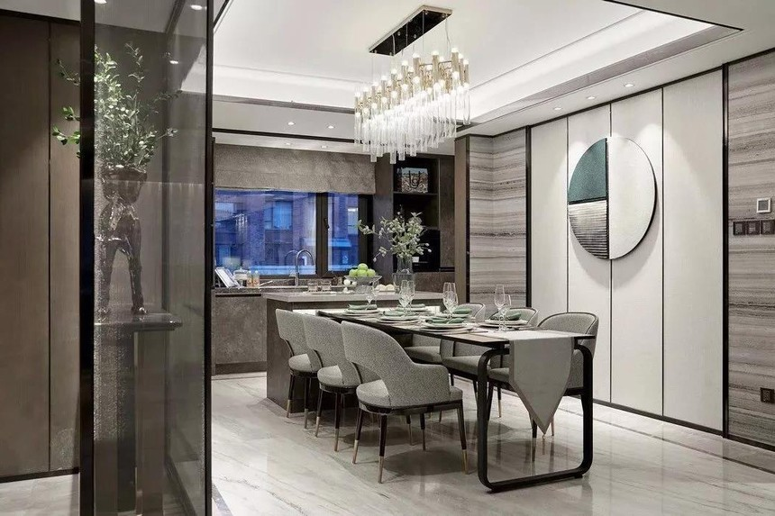 中式联体三层农村别墅设计餐厅参考图