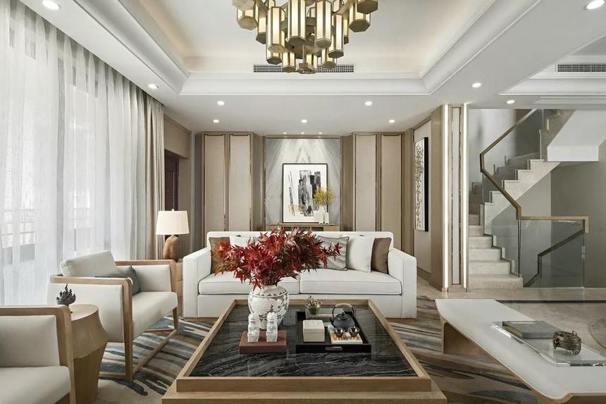 中式联体三层农村别墅设计小客厅参考图