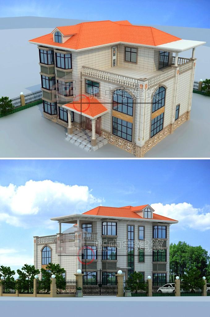 农村别墅设计外观效鸟瞰图2