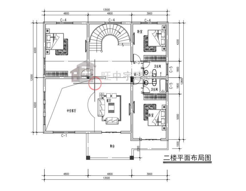 农村别墅田园别墅二层平面图