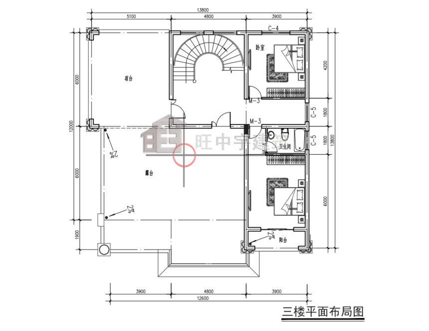 农村别墅田园别墅三层平面图