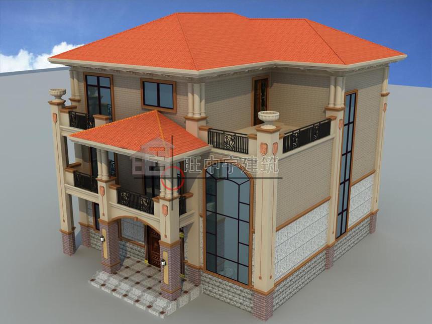 农村别墅设计三层效果鸟瞰图