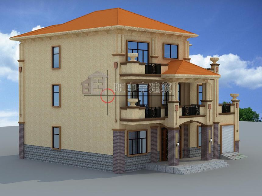 农村别墅设计三层侧面效果图
