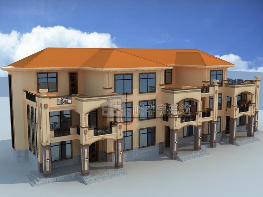 农村别墅设计三联体三层鸟瞰图