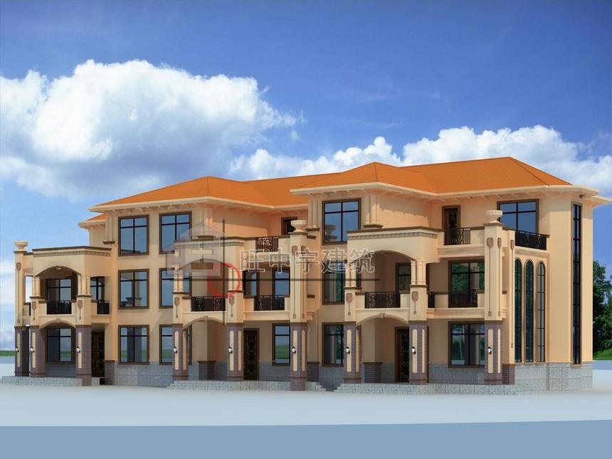 农村别墅设计三联体三层侧面效果图