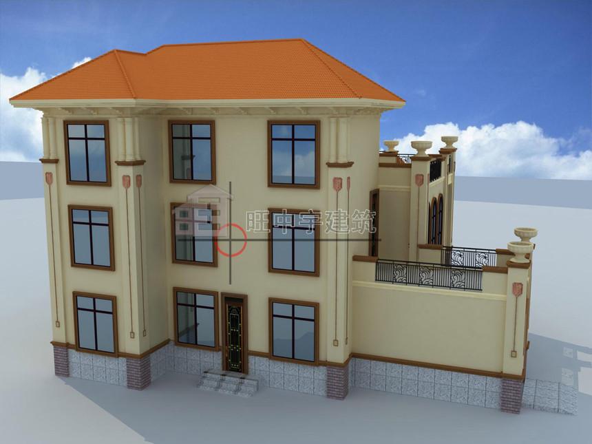 农村别墅设计三层效果图背面效果图