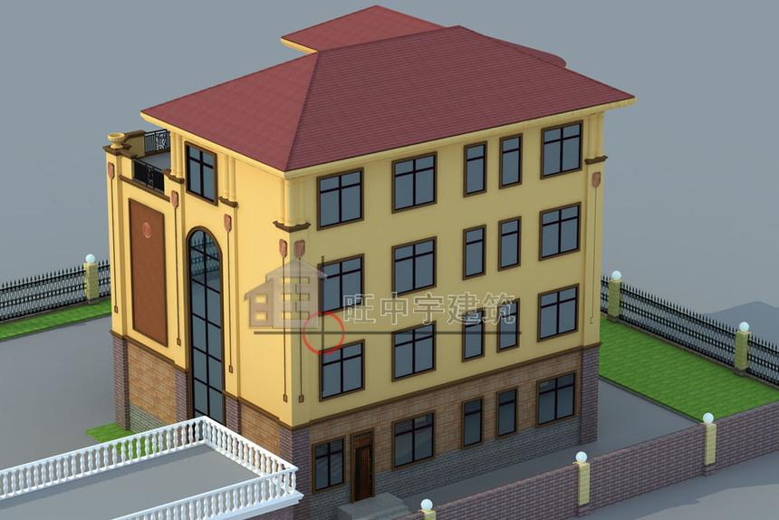 四层农村别墅设计背面效果图