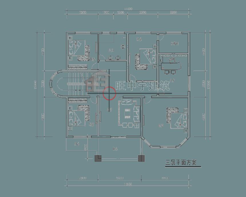四层农村别墅设计三层平面图