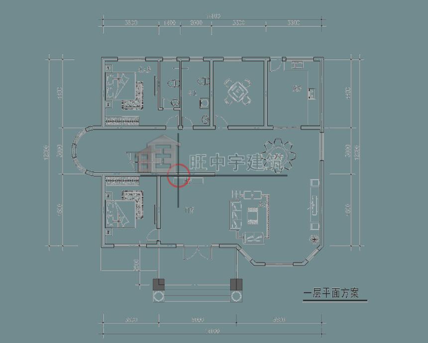 四层农村别墅设计一层平面图