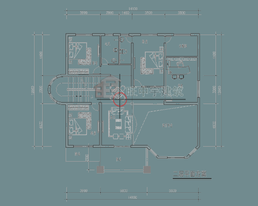 四层农村别墅设计二层平面图