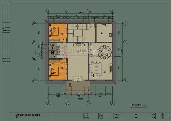 简约风农村别墅设计一层平面图