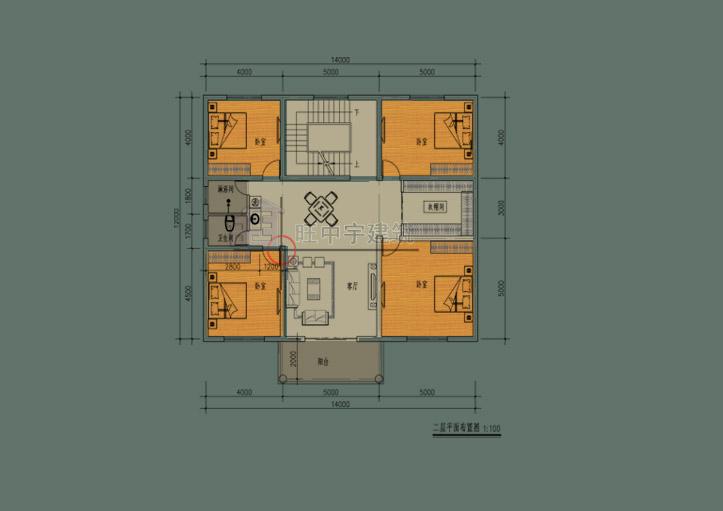 简约风农村别墅设计二层平面图