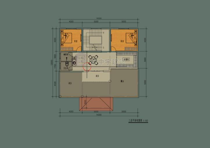 简约风农村别墅设计三层平面图