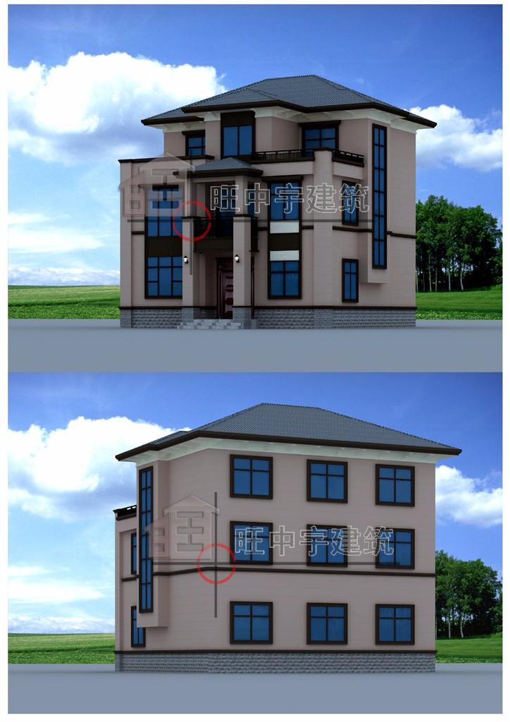 三层小户型新农村别墅设计,新农村别墅自建房外观效果图又视图与后视图