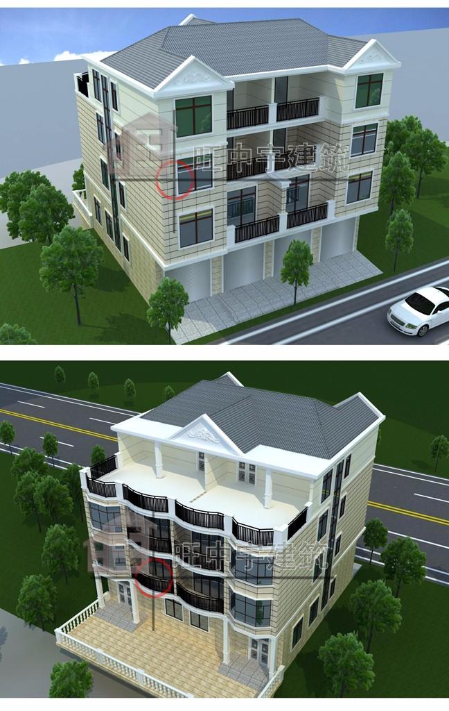 四層聯體新農村別墅設計,新農村別墅自建房設計鳥瞰圖