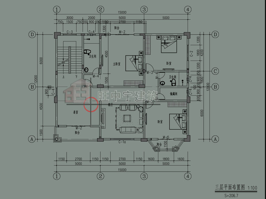 欧式农村别墅自建房三层平面图