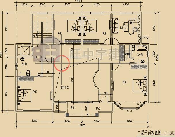 新农村自建别墅豪宅二层平面图