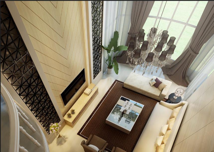 二层田园欧式别墅客厅内装修效果图