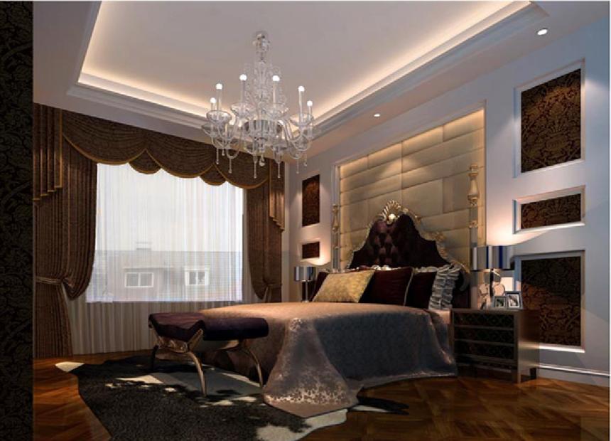 二层田园欧式别墅卧室内装修效果图