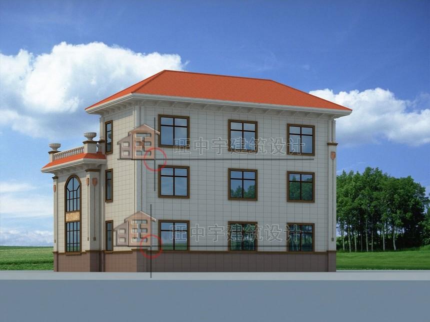 農村別墅款式三層設計圖紙后面效果圖