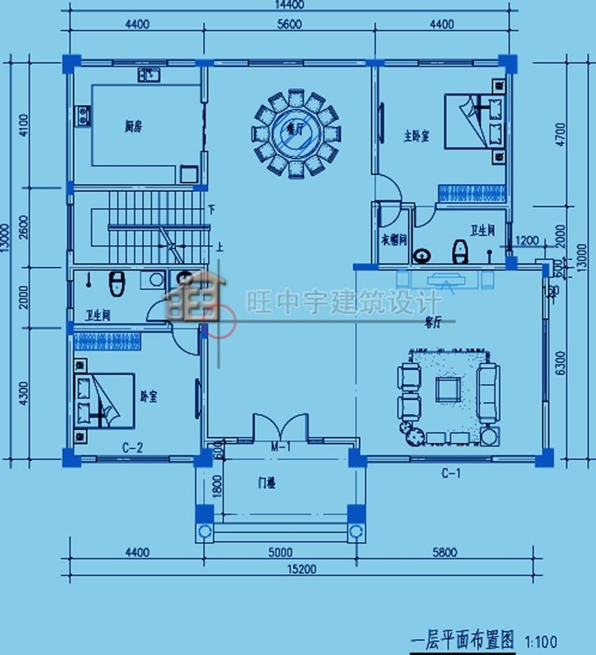 農村別墅款式三層設計圖紙一層平面圖