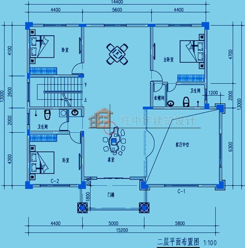 農村別墅款式三層設計圖紙二層平面圖