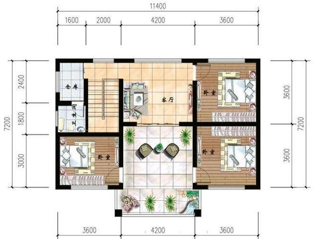 农村别墅三层平面图