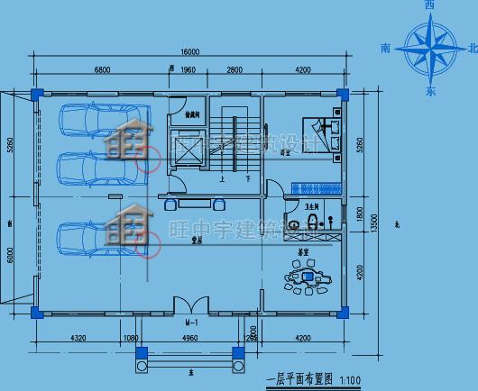 農村別墅多層別墅一層平面圖