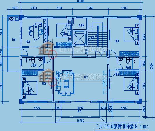 農村別墅多層別墅三層平面圖